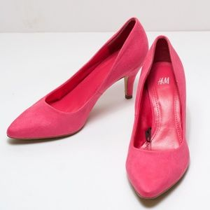 H&M Faux Suede Pink Heels Pointy Toe